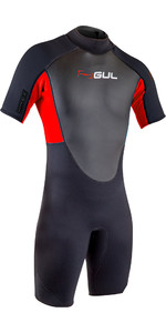 2020 Gul Heren Response 3/2mm Shorty Wetsuit Met Back Zip Re3319-B7 - Zwart / Rood