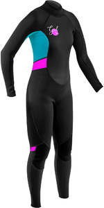 2020 GUL Womens Response 3/2mm Back Zip Wetsuit RE1319-B7 - Black / Cyan