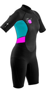 2020 Gul Vrouwen Response 3/2mm Back Zip Shorty Wetsuit Re3318-b7 - Zwart / Cyaan