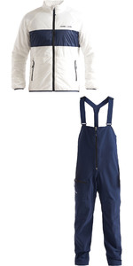 2020 Henri Lloyd Mens Maverick Liner Mid Layer Jacket & M-Course 2.5 Layer Inshore Sailing Bib Trousers - Cloud White / Navy