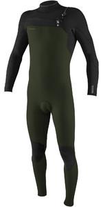 2020 Hommes O'neill Hyperfreak + 5/4mm Chest Zip Combinaison 5345 - Vert Fantôme / Noir