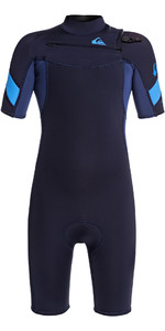 2021 Quiksilver Boys Syncro 2mm Chest Zip Shorty Wetsuit EQBW503011 - Navy / Iodine