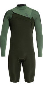 2020 Quiksilver De Los Hombres Highline Limitada 2mm Chest Zip Shorty Wetsuit Eqyw403012 - Hiedra / Olive