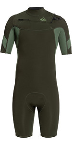 2020 Quiksilver Mens Syncro 2mm Chest Zip Shorty Wetsuit EQYW503014 - Ivy / Olive