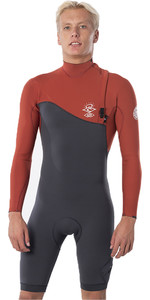 2020 Rip Curl Mens E-Bomb 2mm Long Sleeve Shorty Wetsuit Zip Free WSP8ME - Terracotta
