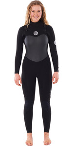 2021 Rip Curl Feminino Flashbomb 3/2mm Chest Zip Wetsuit Wstyeg - Preto