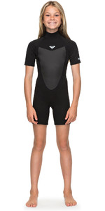 2020 Roxy Girl's 2mm Prologue Back Zip Shorty Ergw503008 - Negro