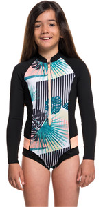 2020 Roxy Girl's Popsurf 1mm Manga Larga Con Front Zip Shorty Ergw403007 - Negro