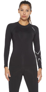 2021 2XU Womens Ignition Compression Long Sleeve Top WA6405a - Black / Silver