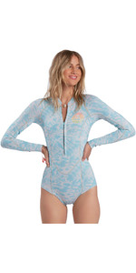 2021 Billabong Womens Salty Dayz 2mm Long Sleeve Shorty Wetsuit ABJW400100 - Island Blue Neo