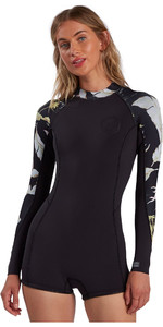 2021 Billabong Womens Spring Fever 2mm Long Sleeve Shorty Wetsuit W42G54 - Maui Black