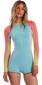 2021 Billabong Womens Spring Fever 2mm Long Sleeve Shorty Wetsuit W42G54 - Neon Daze