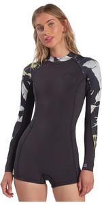 2021 Billabong Womens Spring Fever 2mm Long Sleeve Shorty Wetsuit ABJW400101 - Maui Black