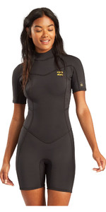 2021 Billabong Femmes Synergy De Back Zip Shorty 2mm Back Zip Shorty Combinaison W42g60 - Tropique Noir