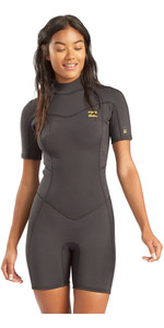 2021 Billabong Womens Synergy 2mm Back Zip Shorty Wetsuit JWSP3BSB - Black Tropic