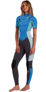 2021 Billabong Feminino Synergy 2mm Chest Zip Manga Curta Wetsuit W42g57 - Maui Azul