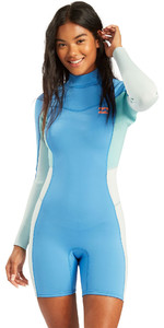 2021 Billabong Womens Synergy 2mm Long Sleeve Back Zip Shorty Wetsuit W42G58 - Maui Blue
