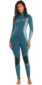 2021 Billabong Womens Synergy 3/2mm Back Zip Wetsuit W43G52 - Blue Seas