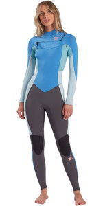 2021 Billabong Vrouwen Synergy 4/3mm Chest Zip Wetsuit W44g51 - Maui Blauw