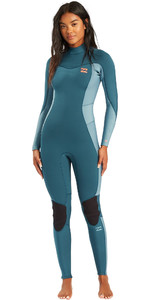 2021 Billabong Womens Synergy 4mm Back Zip Wetsuit W44G52 - Blue Seas