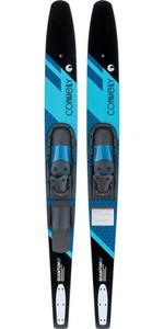 2021 Connelly Quantum Slide-Typ Einstellbare Combo-Wasserski 61200342 - Schwarz / Blau