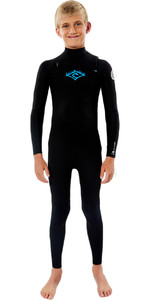 2021 Rip Curl Junior Boys Dawn Patrol 3/2mm GBS Chest Zip Wetsuit WSM9KB - Black / White