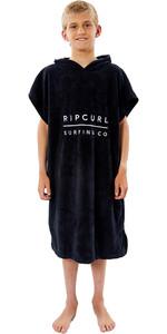 2021 Rip Curl Junior Serviette à Capuche / Poncho Ktwah9 - Noir