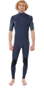 2021 Rip Curl Mannen Dawn Patrol Eco Chest Zip 2mm Korte Mouw Wetsuit Wsm9yv - Slate