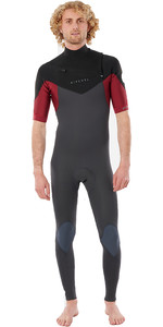 2021 Rip Curl Mannen Dawn Patrol Performance 2mm Chest Zip Korte Mouw Wetsuit Wsm9ym - Kastanjebruin