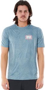 2021 Rip Curl Curl Men Mind Wave UV T-shirt Met Korte Mouwen Wly3sm - Middenblauw