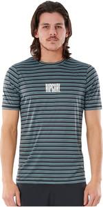 2021 Rip Curl Curl Men Mind Wave Stripe UV T-shirt Met Korte Mouwen Wly3TM - Middenblauw