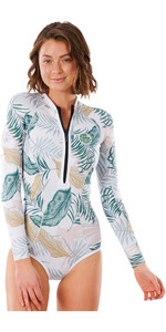2021 Rip Curl Bombe G Femmes 1mm Manches Longues Salut Coupe Shorty Combinaison Wsp3lv - Blanc