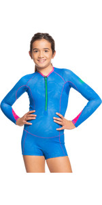 2021 Roxy Girls Pop Surf 1mm Long Sleeve Spring Shorty Wetsuit ERGW403014 - Princess Blue / Beetroot Purple