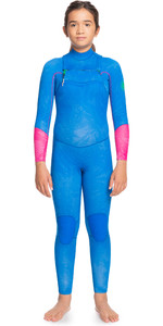 2021 Roxy Girls Pop Surf 3/2mm Chest Zip GBS Wetsuit ERGW103036 - Princess Blue / Beetroot Purple