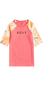 2021 Roxy Girls Bedruckte Lycra Rash Vest Ergwr03241 - Lachs Buff / Picolo
