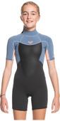 2021 Roxy Mädchen Prologue 2/ 2mm Back Zip Spring Shorty Wetsuit Ergw503008 - Wolke Schwarz / Pulverisierter Glow Grau / Sun