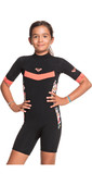 2021 Roxy Mädchen Syncro 2/ 2mm Back Zip Spring Shorty Wetsuit Ergw503010 - Schwarz / Helle Coral