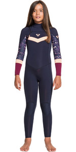 2021 Roxy Girls Syncro 3/2mm Chest Zip Wetsuit ERGW103031 - Dark Navy / Red Plum