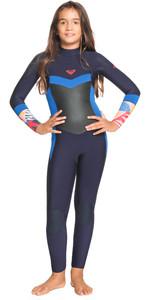 2021 Roxy Mädchen Syncro 4/3mm Back Zip Gbs Anzug Ergw103044 - Navy Nächte / Yacht Blau