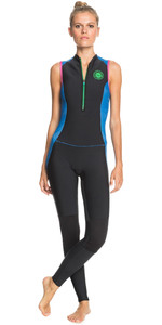 2021 Roxy De Surf Pop De Las Mujeres 1.5mm Long Jane Wetsuit Erjw703004 - Azul Negro / Princesa