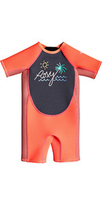 2021 Roxy Toddler Syncro 1.5mm Spring Shorty Wetsuit EROW503002 - Vermillon / Dark Navy / Coral Flame