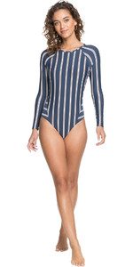 2021 Roxy Womens Moonlight Splash Long Sleeve UV Onesie ERJWR03485 - Mood Indigo / Stripes