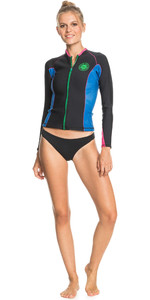 2021 Roxy Vrouwen Pop Surf 1mm Lange Mouwen Wetsuit Jas Erjw803023 - Zwart / Princess Blue