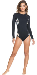 2021 Roxy Womens Printed Beach Classics Long Sleeve UV Onesie ERJWR03478 - Anthracite / Praslin