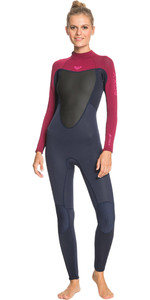 2021 Prologue Feminino Roxy 4/3mm Back Zip Gbs Wetsuit Erjw103072 - Navy Escuro / Bordô