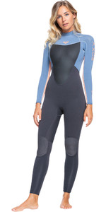 2021 Roxy Womens Prologue 4/3mm Back Zip GBS Wetsuit ERJW103072 - Cloud Black / Powdered Grey / Sun Glow