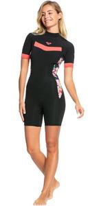 2021 Roxy Damen Syncro 2/ 2mm Back Zip Spring Shorty Neoprenanzug Erjw503014 - Black / Bright Coral