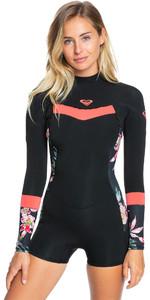 2021 Roxy Damen Syncro 2mm Spring Shorty Neoprenanzug Erjw403024 - Schwarz / Helle Coral