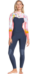 2021 Roxy Womens Syncro 3/2mm Chest Zip GBS Wetsuit ERJW103088 - Jet Grey / Coral Flame / Temple Gold