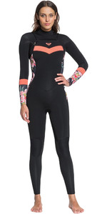 2021 Roxy Womens Syncro 3/2mm Chest Zip Wetsuit ERJW103053 - Black / Bright Coral